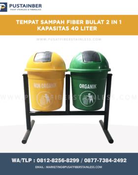 tempat sampah fibeglass bulat 2 in 1 kapasitas 40 liter, tong sampah fiberglass 2 pilah, harga tong sampah fiber 2 warna, produsen tempat sampah fiber 2 in 1,jual tempat sampah fiberglass untuk outdoor