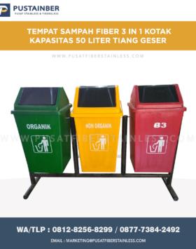 Tempat Sampah Fiberglass Kotak 3 in 1 50 Liter