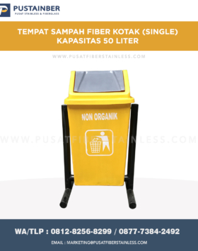 Tempat Sampah Fiber Kotak Single 50 Liter