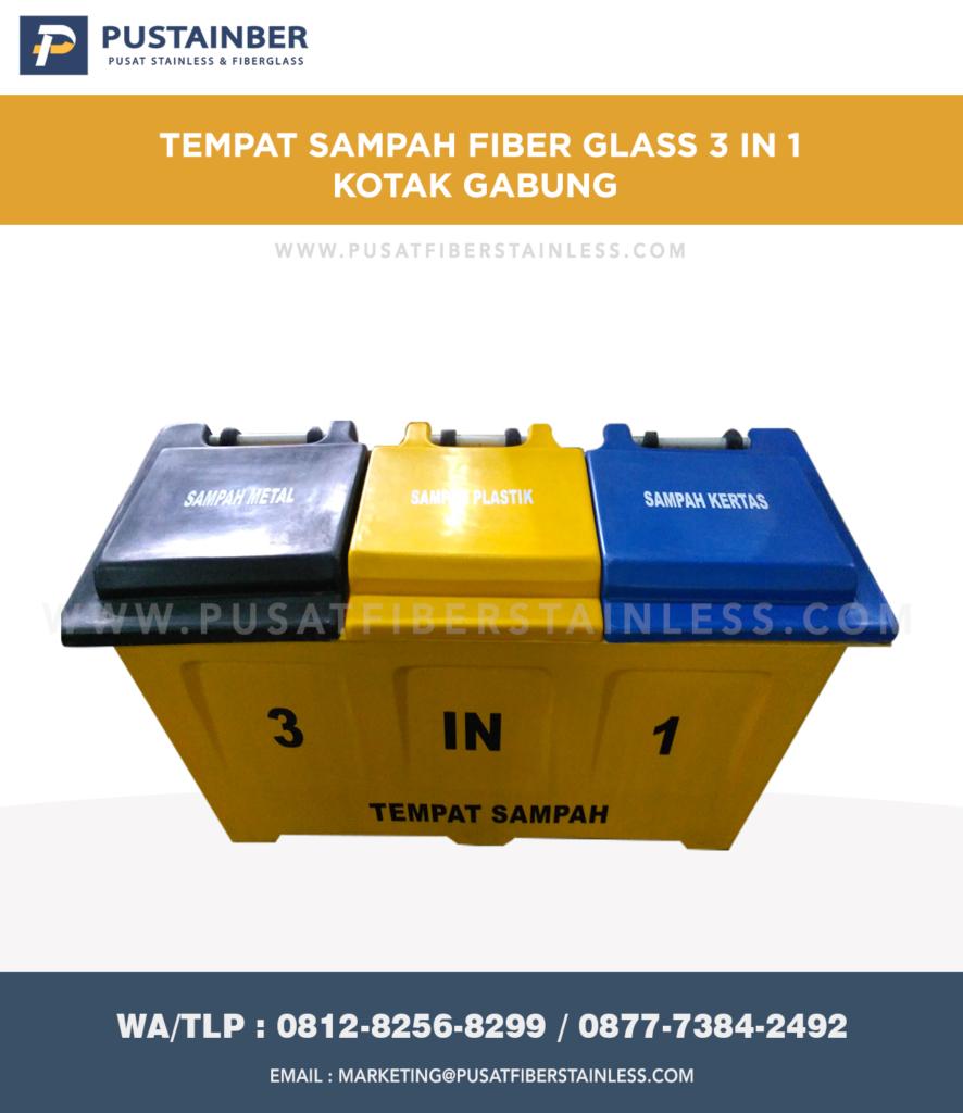 Tong Sampah Fiber Kotak Gabung 3 In 1 150 Liter